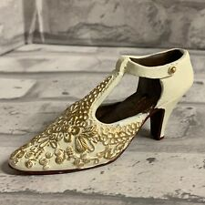 Miniature  Victorian Shoe Collectible Figurine White With Gold Floral Accents