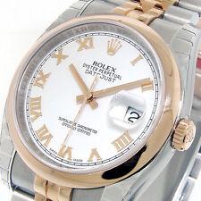 UNWORN ROLEX 116201 STEEL PINK GOLD 36 mm DATEJUST JUBILEE BRACELET WHITE ROMAN
