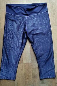 WOMEN'S BLUE/SILVER MANDALA ZUMBA LEGGINGS/PANTS/BOTTOMS CAPRI M