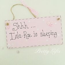 Personalised Shhh Baby Sleeping Door Plaque Keepsake Gift Girl Boy Handmade