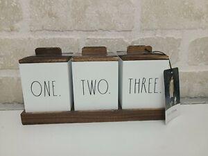 Rae Dunn ONE, TWO, THREE Wooden Box Set