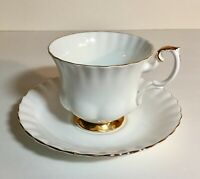 Vintage Royal Albert Val D'or Bone China White Tea Cup and Saucer Set