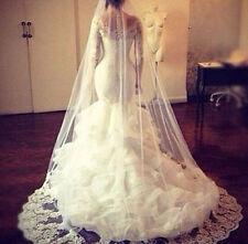 2017 New lace Mermaid White/Ivory Wedding Dresses Bridal Ball Gown Custom 12 14+