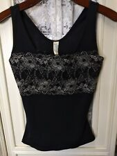 Flexees Women's Size Medium Black Lace Front Shaping Tank Top GUC