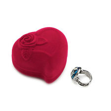 Jewelry Ring Box Velvet Heart Shaped  Red Rose Pattern Love Ring Storage Display