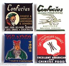 Confucius Chinese Food FRIDGE MAGNET Set (1.5 x 1.5 inches each) sign