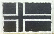 ICELAND Flag Patch With VELCRO Brand Fastener B & W Tactical White Border #27