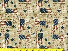 Rustic Flags & Stars Patriotic Quilting & Sewing Fabric by Yard #138-2