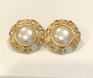 Vintage MONET Clip-on Earrings  Faux Pearl Dome Gold tone