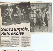 SUBWAY SECT / SLITS MUSIC MACHINE press clipping 1977 approx 20x23cm (8/10/77)