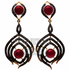 Estate Victorian 3.39Cts Rose Cut Diamond Ruby Studded Silver Jewelry Earring