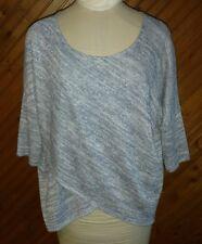 White House Black Market Women's Size M Knit Top Blue White Silver 1/2 Sleeve