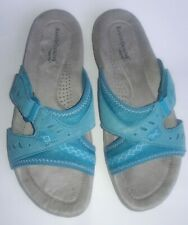 Earth Origin By Earth Baylee Leather Women's Slides On Sandals Aqua Us Size 9 M