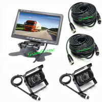 "2 x18 IR CCD Reversing Camera + 4Pin 7"" LCD Monitor Rear View Kit Bus Truck Van"