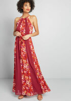 Modcloth Women's Illuminated Elegance Plum Red Floral Chiffon Maxi Dress Large