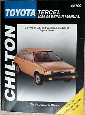 CHILTON Toyota Tercel 1984-94 Repair Manual - All US & Canadian Models