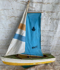 Vintage Antique Wooden POND YACHT SAILBOAT Nautical Display Model Marlin M4073