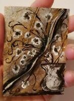 Original Acrylic on canvas ACEO/Miniaturevase painting/original floral painting
