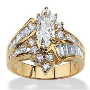"""CLASSIC LUXURY OVAL WHITE CZ GOLD PLATED RING UK Size """"M"""" US 5.5"""