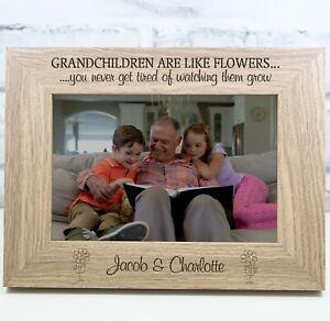 Personalised Grandchildren Photo Frame Flowers