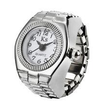Fashion Dial Quartz Analogue Creative Steel Elastic Finger Ring Watch <> WHITE