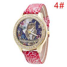 Luxus Eule Designer Damenuhr Strass Quarz Uhr in Chronograph Optik Uhrarmband
