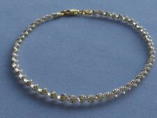 "10"" Sterling Silver/Gold Two Tone Ankle Bracelet- Shimmery Twist- Italy 925"