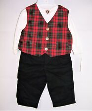 Boys BABY TOGS black red plaid suit 3 6 months NWT Christmas vest shirt outfit