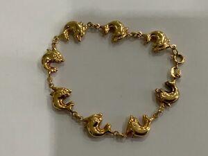 "Unusual Classic 9ct Gold Double Dolphin Link Bracelet 7.5"" Ladies Heavy"