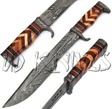 "18.5"" UD HANDMADE DAMASCUS HUNTING CROCODILE DUNDEE TACTICAL  BOWIE KNIFE 8388"