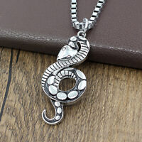 Punk Stainless Steel Snake Snake Cobra Pendant Box Chain Mens Biker Necklace