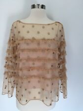 J.Crew COLLECTION Tulle Top with Embroidered Polka Dots Blouse Gold 2,4 G5841