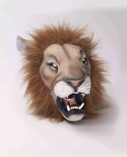 Lion Mask With Hair Tan Latex 3/4 Head Jungle Animal Mask with Fux Fur