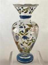 Glass Bud Vase Hand Painted Floral Garden Motif Blue and Green