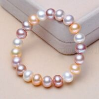 Fashion 7-8MM Natural Multicolor Freshwater Cultured Pearl Bracelet 7.5'' AAA+