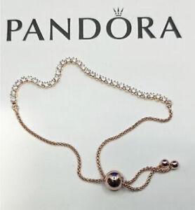 "Genuine Pandora Sparkling ""Shine"" Tennis Slider Bracelet Small Size 1 560524CZ-1"
