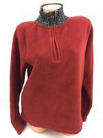 Eddie Bauer Womens Pullover Birch Valley Fleece Mock Half Zip Burgundy Sweater L