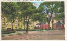 Antique POSTCARD c1936 High School Fairfield Hall Normal School DANBURY CT 18428