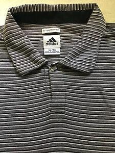 Adidas Men's XL Polo Soft Mercerized Cotton Short Sleeve Striped Golf Black