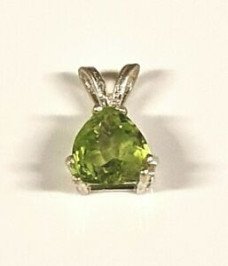 Natural earth-mined peridot in a solid sterling silver pendant ...7 mm stone