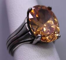 SIZE 6 ~ Vintage SILPADA Sterling Silver & Champagne Orange Stone Modernist Ring