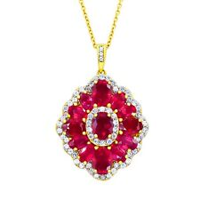 Victoria Wieck Collection S Silver Vermeil Ruby and White Zircon Pendant Chain