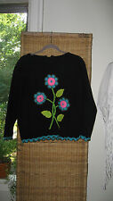 Vintage 50s 60s Evan Picone Black Floral Sweater Mod Bombshell  Pin Up
