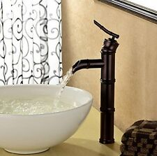 ORB Bamboo Shaped Black Bathroom Basin Single Lever Faucet Mixer Taps Deck Mount