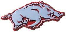 Arkansas Premier Metal Auto Emblem: Chrome w/ Red Trim Razorbacks Car Decal MVP