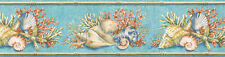 NAUTICAL Conch, Coral, SEA SHELL Wallpaper Border PB58007B