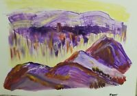 Abstract Landscape Original Painting, Acrylic on Paper, Signed.
