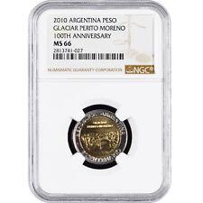 Argentina 1 Peso 2010 Coin Glaciar Perito Moreno 100TH Ann. NGC MS 66 KM# 160