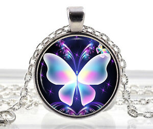 Pink Blue Butterfly Necklace Pendant - Cute Gifts For Girls - Silver Jewelry