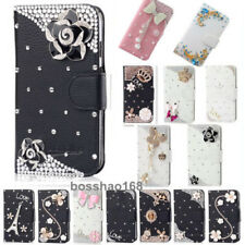 Bling handmade Glitter Rhinestones Leather Flip slots Wallet Case Phone cover #1